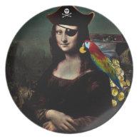 Mona Lisa Pirate Captain Dinner Plate