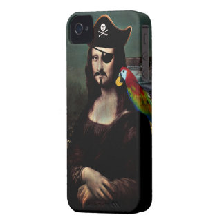 Mona Lisa Pirate Captain - Mustache Case-Mate iPhone 4 Cases