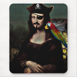 Mona Lisa Pirate Captain - Mustache Mouse Pad