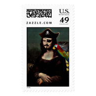 Mona Lisa Pirate Captain - Mustache Postage