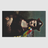 Mona Lisa Pirate Captain - Mustache Rectangular Sticker