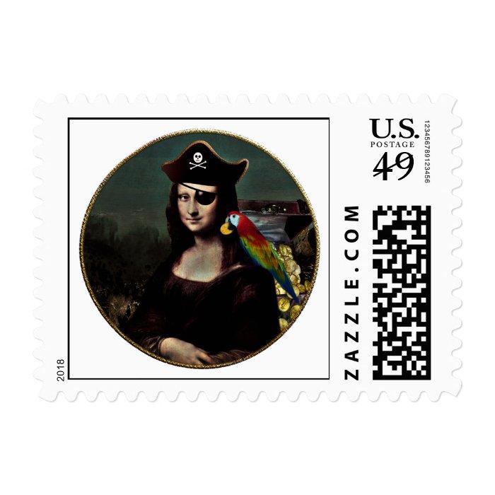 Mona Lisa Pirate Captain Postage Stamp