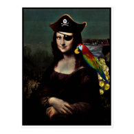 Mona Lisa Pirate Captain Postcards