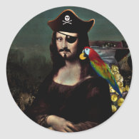 Mona Lisa Pirate Captain With a Mustache Classic Round Sticker