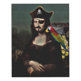 Mona Lisa Pirate Captain With a Mustache Wood Wall Art