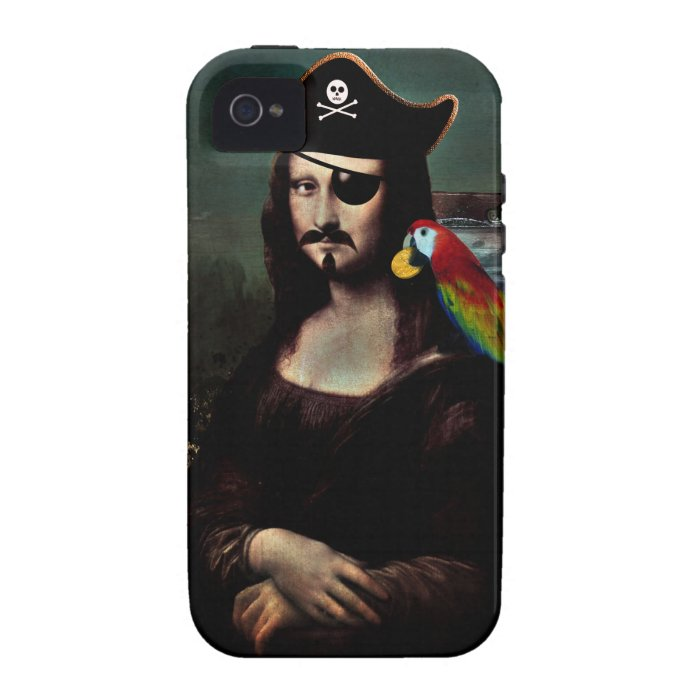 Mona Lisa Pirate Captain With Mustache Case-Mate iPhone 4 Case
