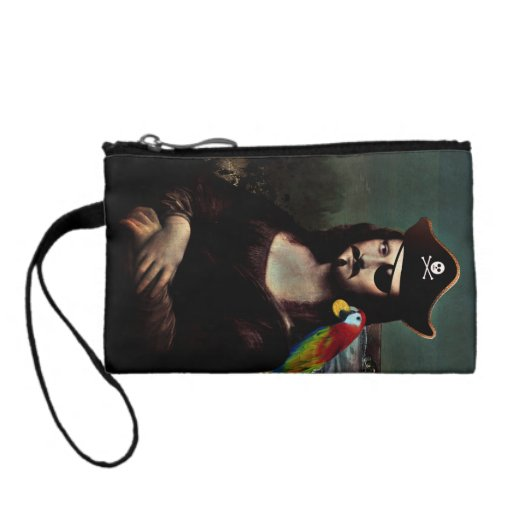 Mona Lisa Pirate Captain With Mustache Coin Wallet