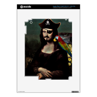 Mona Lisa Pirate Captain With Mustache Decals For iPad 3