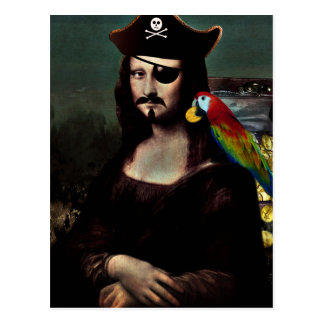 Mona Lisa Pirate Captain with Mustache Postcard