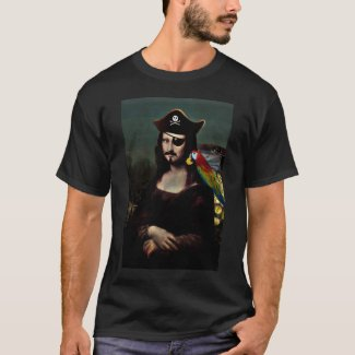 Mona Lisa Pirate Captain With Mustache T-Shirt