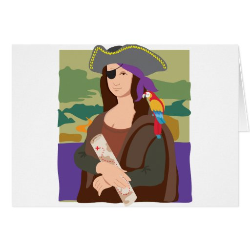 Mona Lisa Pirate Greeting Cards