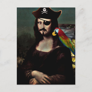 Mona Lisa Pirate with Mustache Postcard