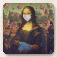 Mona Lisa Playing Safe Around Coronavirus, ZFBP Beverage Coaster