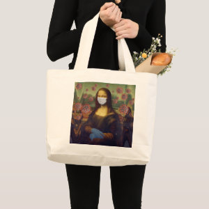 Mona Lisa Playing Safe Around Coronavirus, ZFBP Large Tote Bag