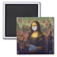 Mona Lisa Playing Safe Around Coronavirus, ZFBP Magnet
