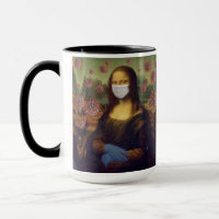 Mona Lisa Playing Safe Around Coronavirus, ZFBP Mug