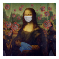 Mona Lisa Playing Safe Around Coronavirus, ZFBP Poster