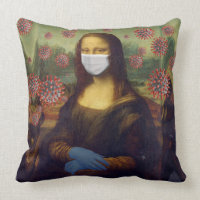 Mona Lisa Playing Safe Around Coronavirus, ZFBP Throw Pillow