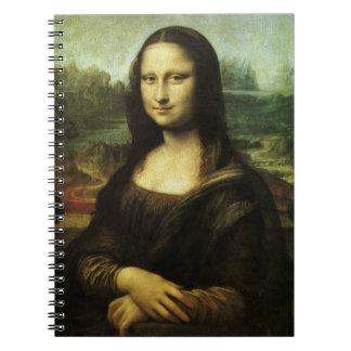 Mona Lisa por renacimiento del vintage de Leonardo Libretas Espirales
