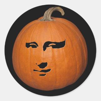 Mona Lisa Pumpkin Classic Round Sticker
