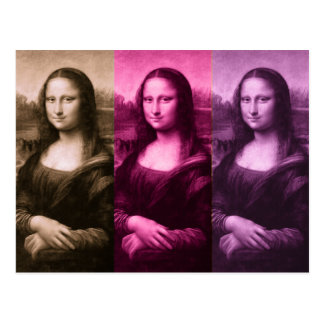 Mona Lisa Purple Pink Chocolate Postcard
