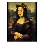 Mona Lisa, puso una cara feliz Postal