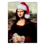Mona Lisa que lleva un gorra de Santa (añada su Tarjeta De Felicitación