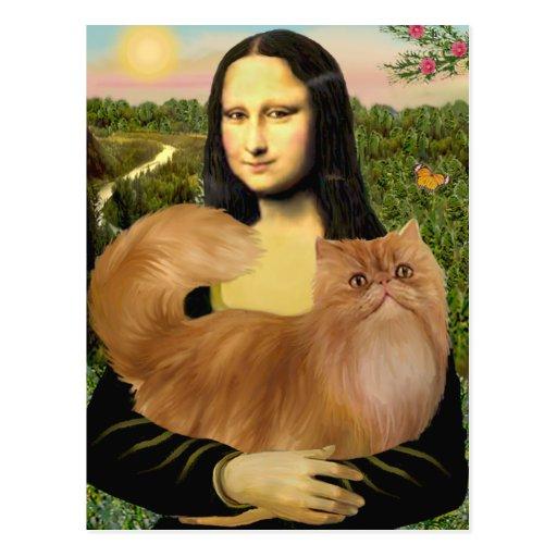 Mona Lisa - Red Persian cat Postcard