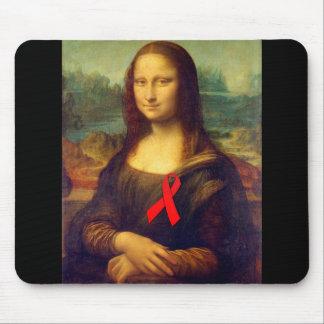 Mona Lisa Red Ribbon Mouse Pad