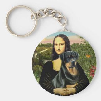 Mona Lisa - Rottweiler (#3) Basic Round Button Keychain