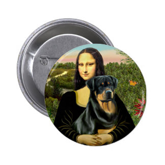 Mona Lisa - Rottweiler (#3) Pin Redondo De 2 Pulgadas
