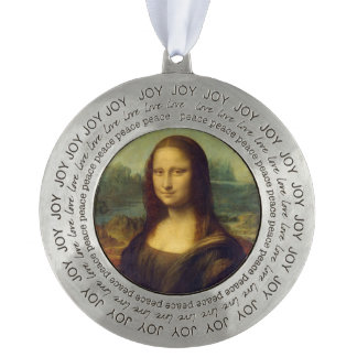 Mona Lisa Round Pewter Christmas Ornament