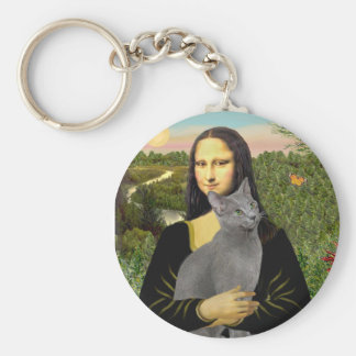 Mona Lisa - Russian Blue cat Keychain