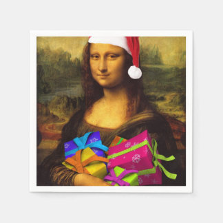 Mona Lisa Santa Claus Paper Napkin