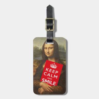 Mona Lisa Says Keep Calm And Smile Bag Tags