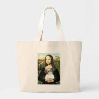 Mona Lisa - Shih Tzu Puppy Large Tote Bag
