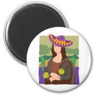 Mona Lisa Sombrero 2 Inch Round Magnet