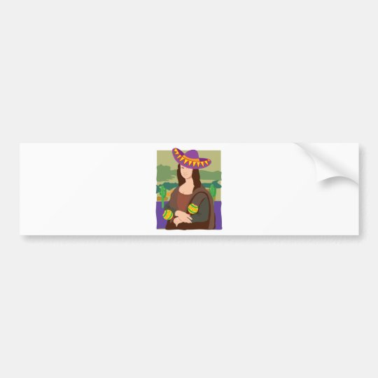 Mona Lisa Sombrero Bumper Sticker