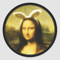 Mona Lisa, The Easter Bunny Classic Round Sticker