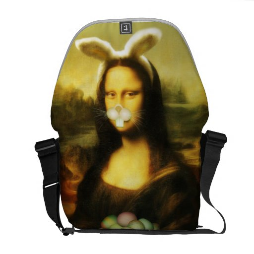 Mona Lisa, The Easter Bunny Courier Bags