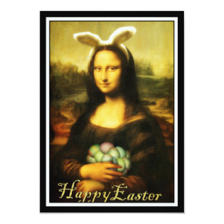 "Mona Lisa, The Easter Bunny 5"" X 7"" Invitation Card"