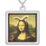 Mona Lisa The Easter Bunny Square Pendant Necklace