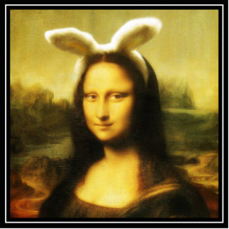 Mona Lisa The Easter Bunny Standing Photo Sculpture