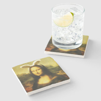 Mona Lisa, The Easter Bunny Stone Coaster