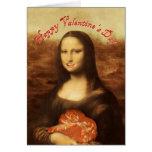 Mona Lisa tiene gusto del caramelo de la tarjeta d