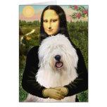 Mona Lisa - viejo inglés 3 Tarjeton