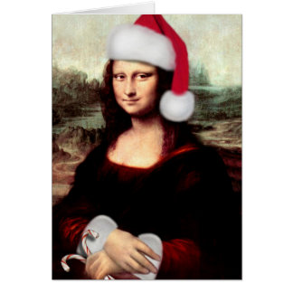 Mona Lisa Wearing a Santa Hat (Add Your Text) Greeting Cards