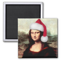 Mona Lisa Wearing a Santa Hat (Add Your Text) Magnets