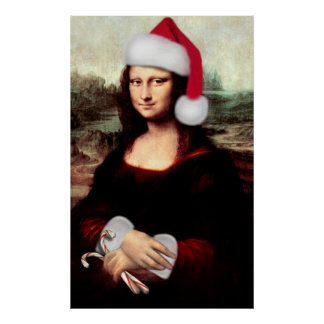 Mona Lisa Wearing a Santa Hat Add Your Text Print