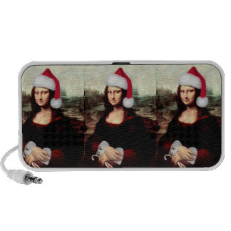 Mona Lisa Wearing a Santa Hat (Add Your Text) iPhone Speakers